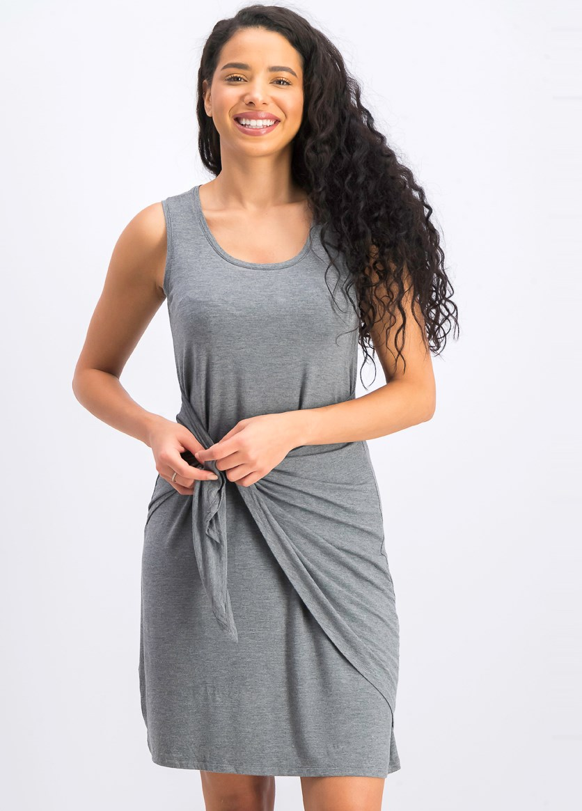 Women's Petite Knot-Front Knit Tank Dress, Mid Grey Heather