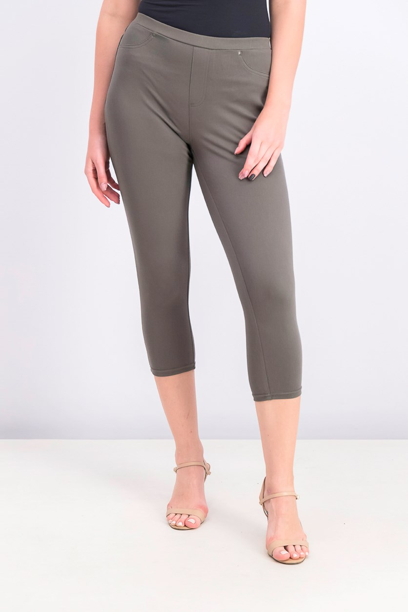 Women's Twill Capri Leggings, Green Licorice