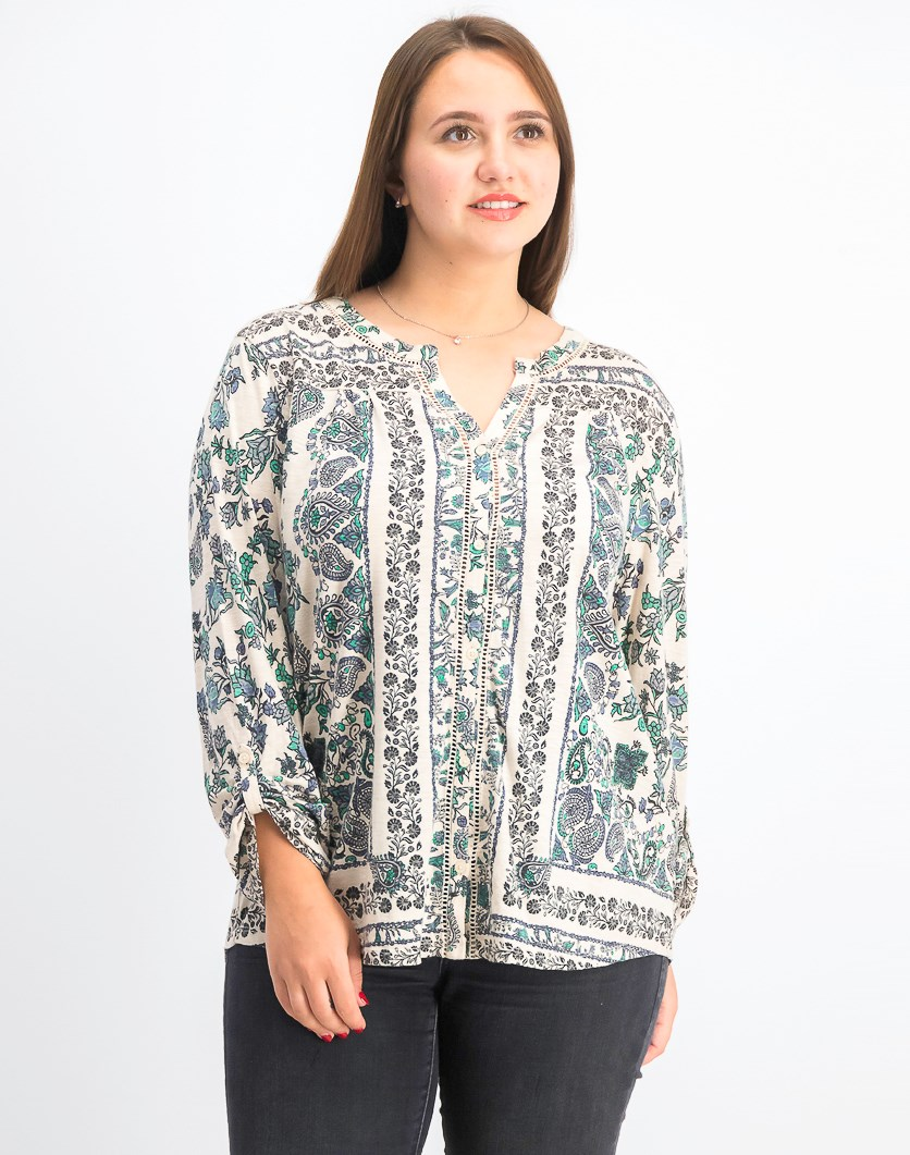 Women's Printed Split-Neck Top, Scarf Solitude