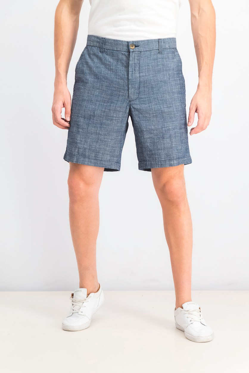 Men's Chambray Cotton Shorts, Blue Combo
