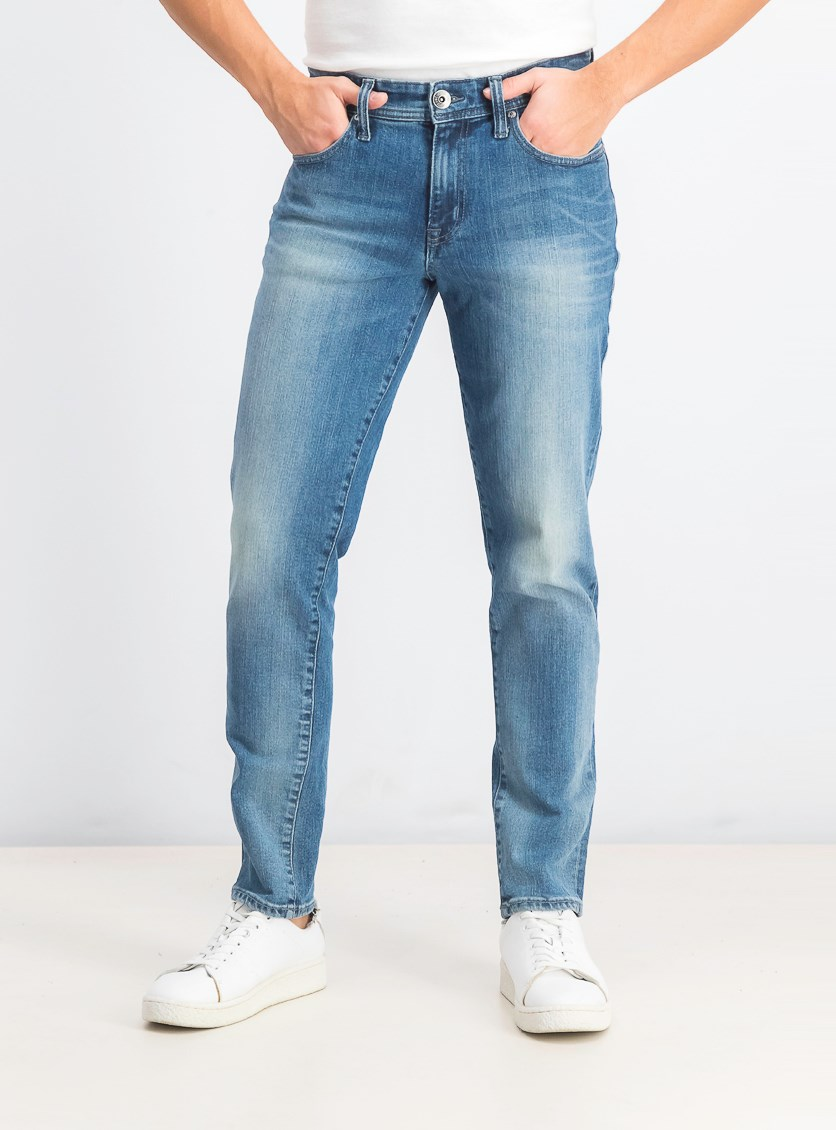 Men's Athletic-Fit Faded Jeans, Light Wash