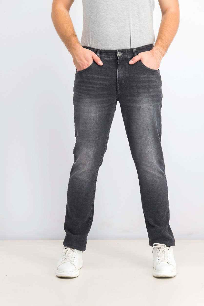 Men's Stretch Slim Straight Jeans, Black Wash