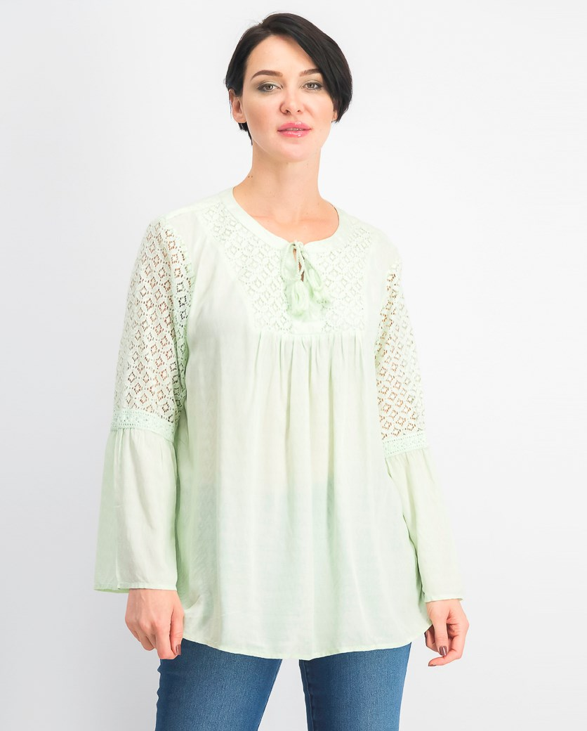 Women's Lace Split-Neck Tassel Top, Mint Fizz