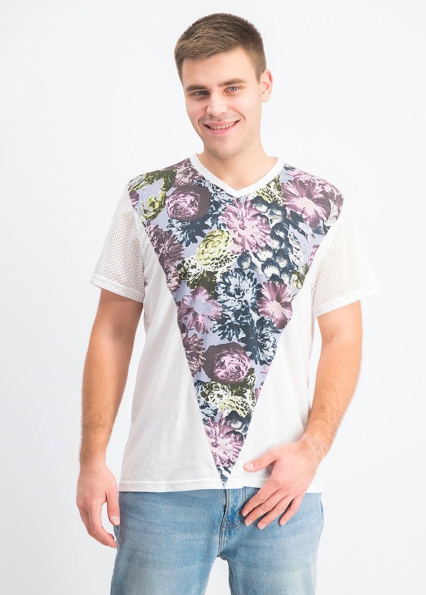 Men's Floral Pieced T-Shirt, White Pure