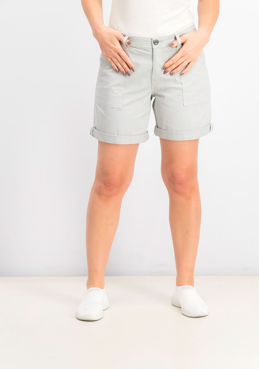 Womens Double-Pocket Cuffed Shorts, Misty Harbor