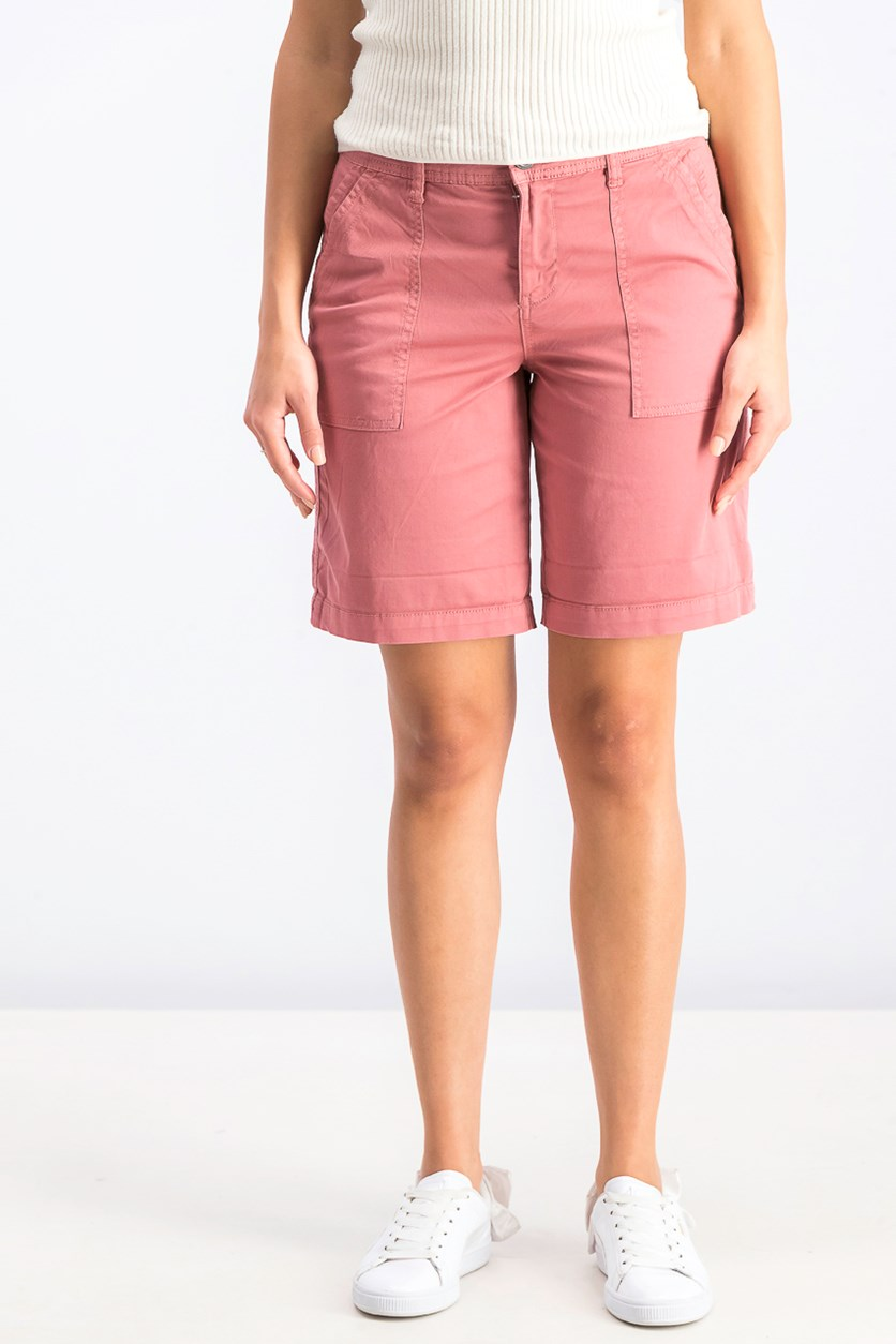 Women's Double-Pocket Cuffed Shorts, Red Salmon