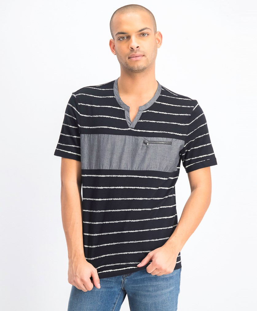 Men's Chambray Pieced Stripe Split-Neck T-Shirt, Deep Black