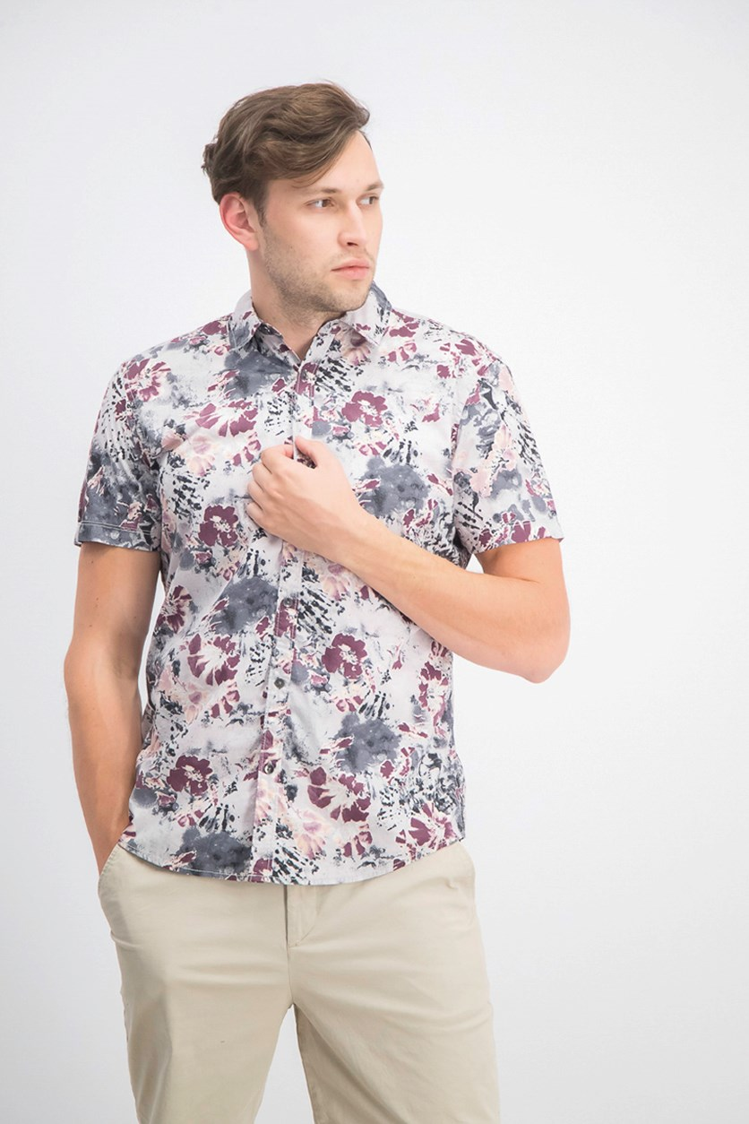 Men's Watercolor Floral Shirt, Stucco Grey