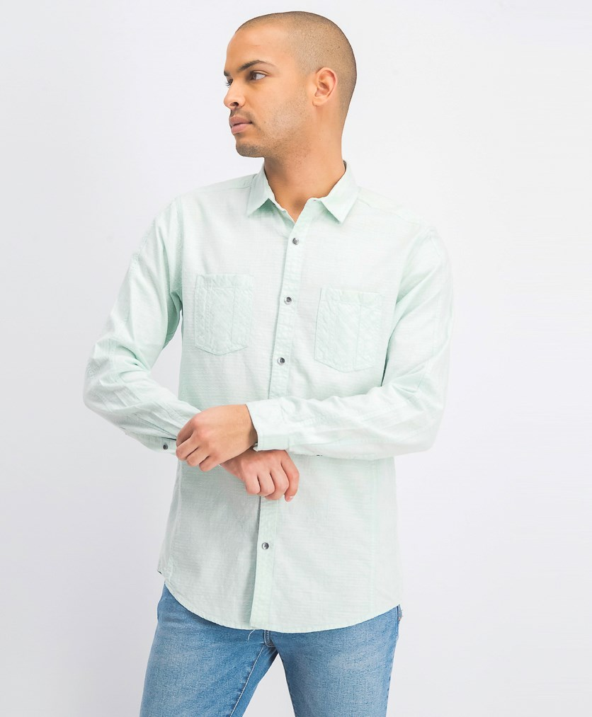 Men's Dual Pocket Chambray Shirt, Mint Wash