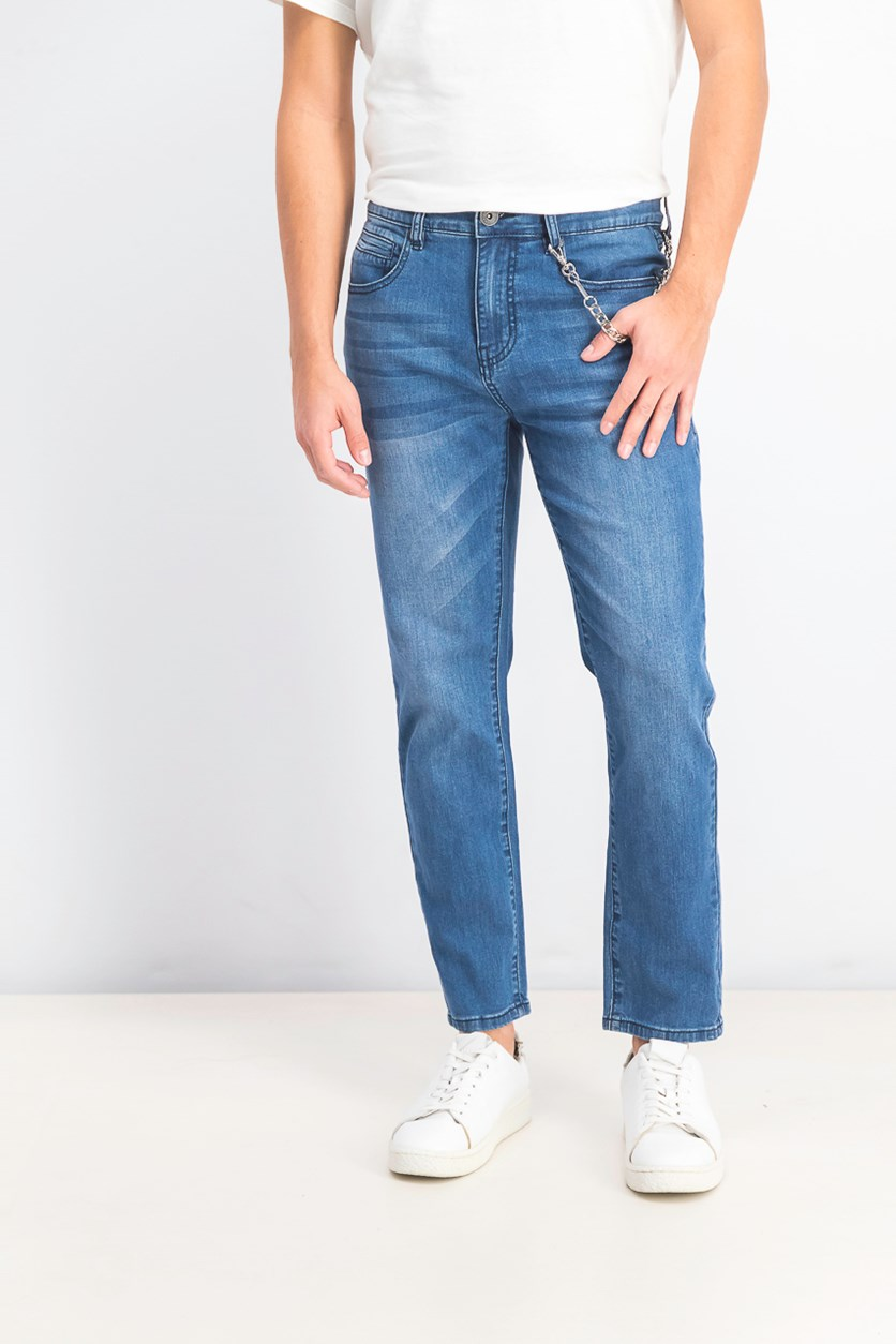 Men's Tapered Moto Jeans with Chain, Medium Wash