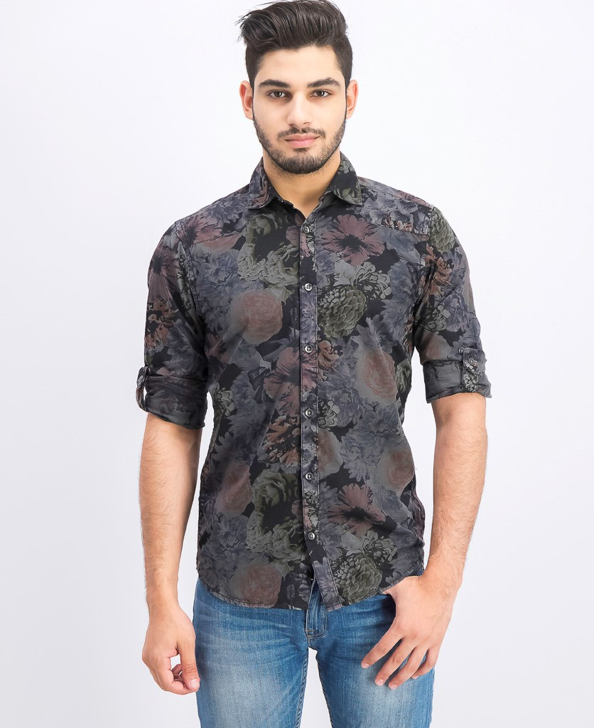 Men's Dark Floral-Print Shirt, Dark Lead