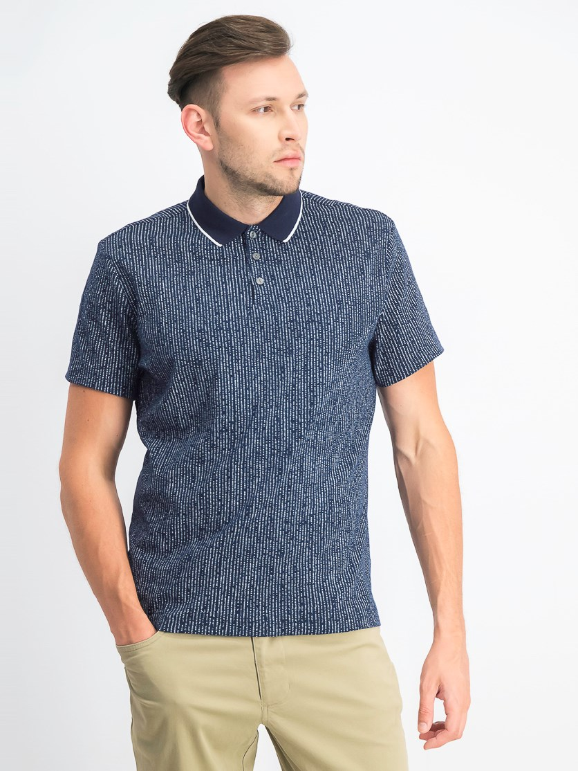 Men's Dot-Stripe Polo, Midnight Navy