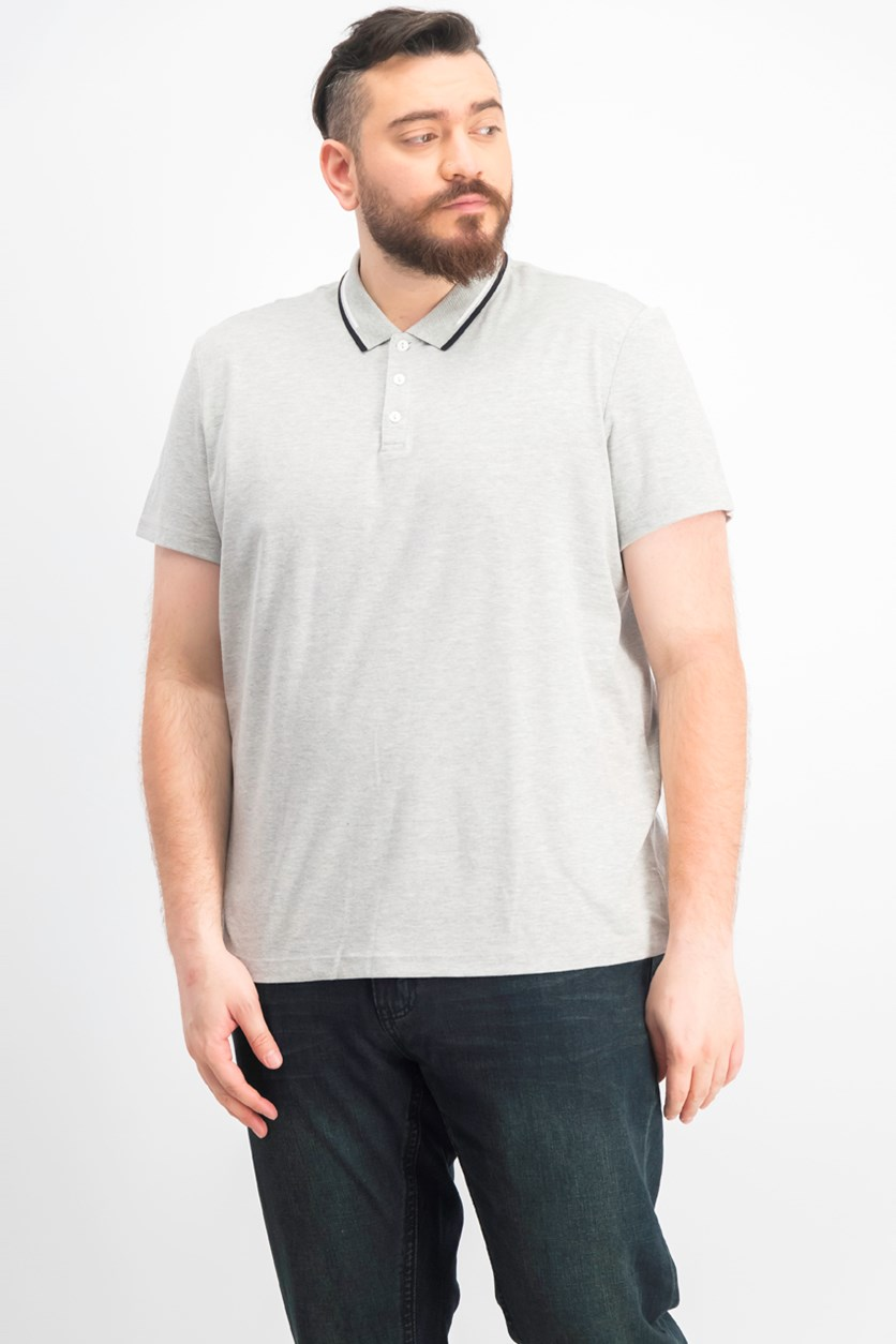 Men's Classic Fit Tipped Polo Shirt, Grey Heather