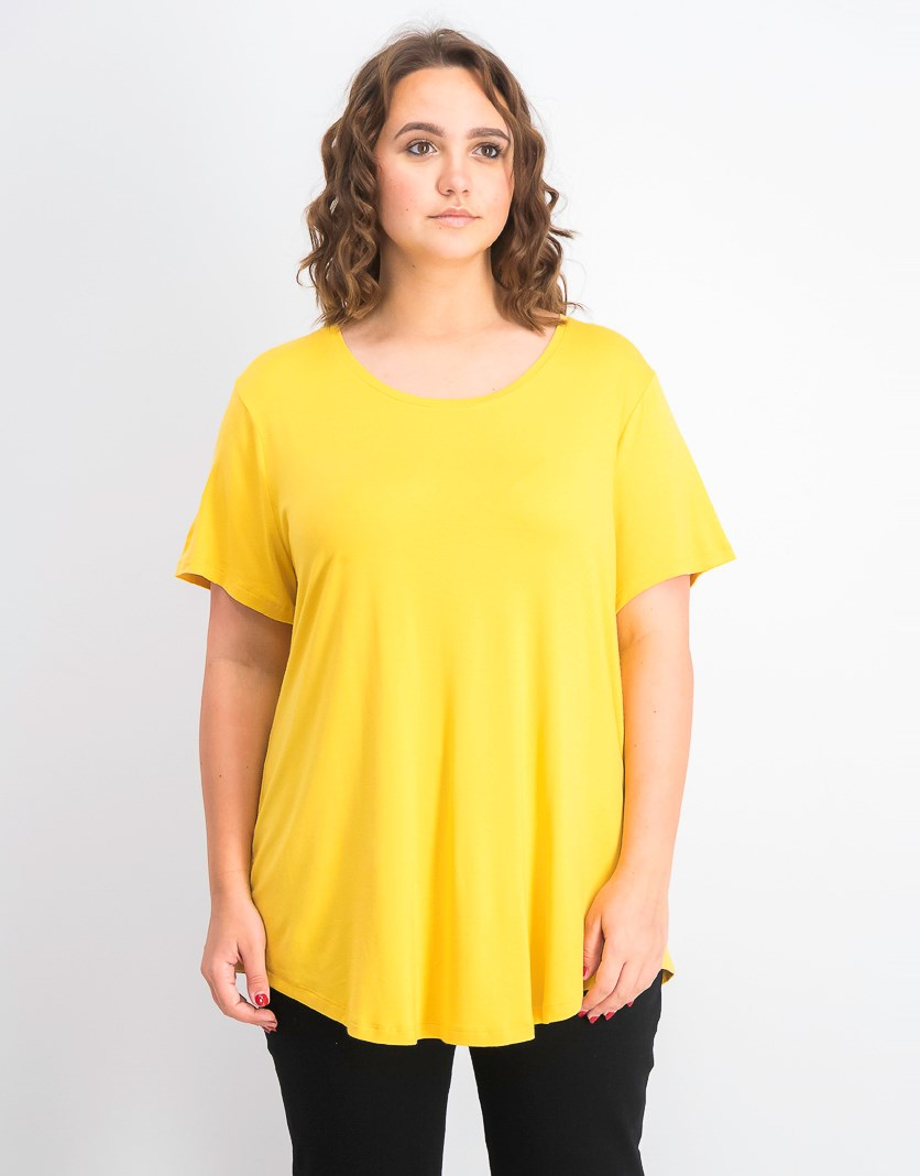 Women's Scoop-Neck Top, Cornmeal Yellow