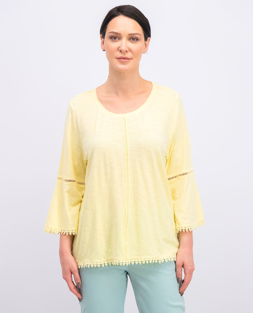 Women's Crochet-Trim Bell-Sleeve Top, Soft Sun