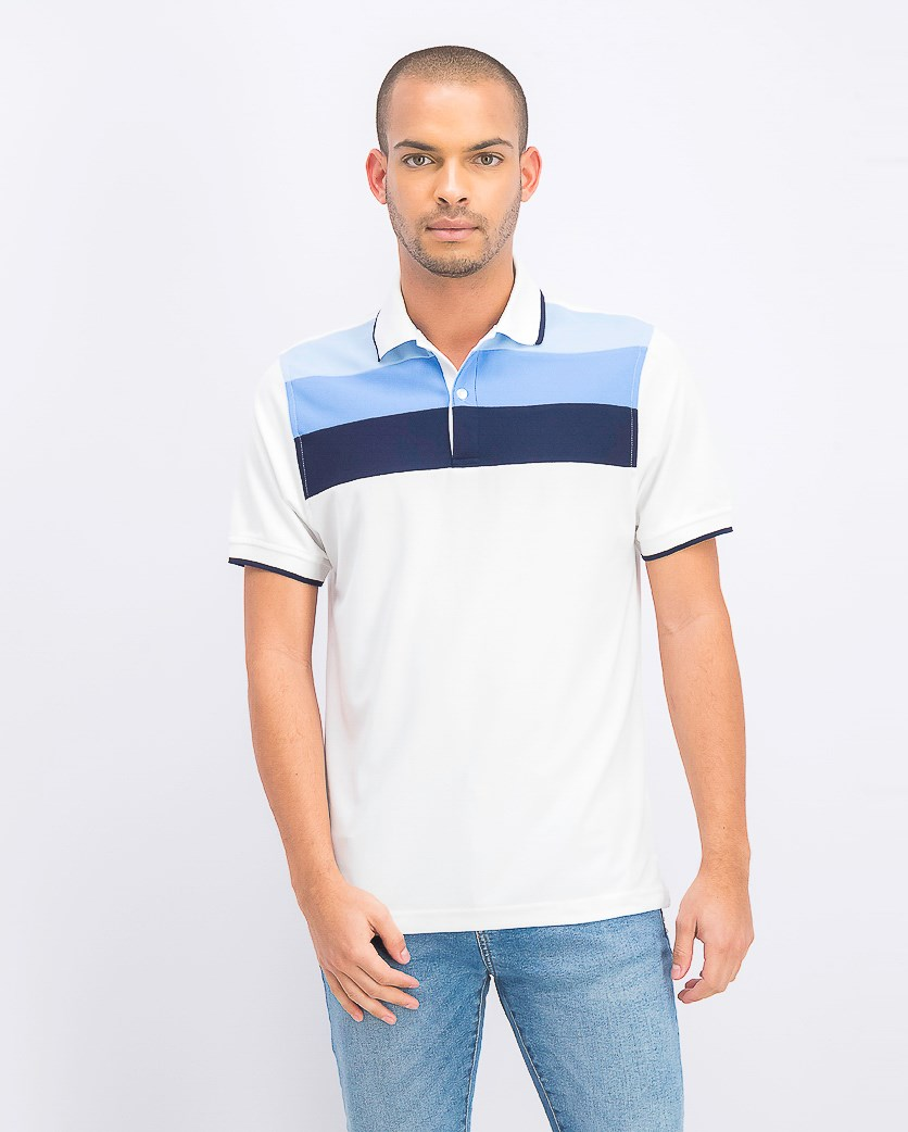 Men's Regular-Fit Stripe Polo, Bright White