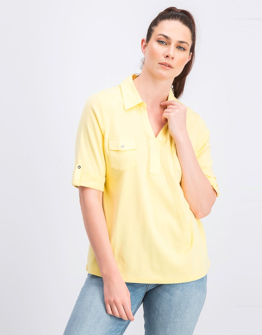 Cotton Cuffed Elbow-Sleeve Tops, Yellow