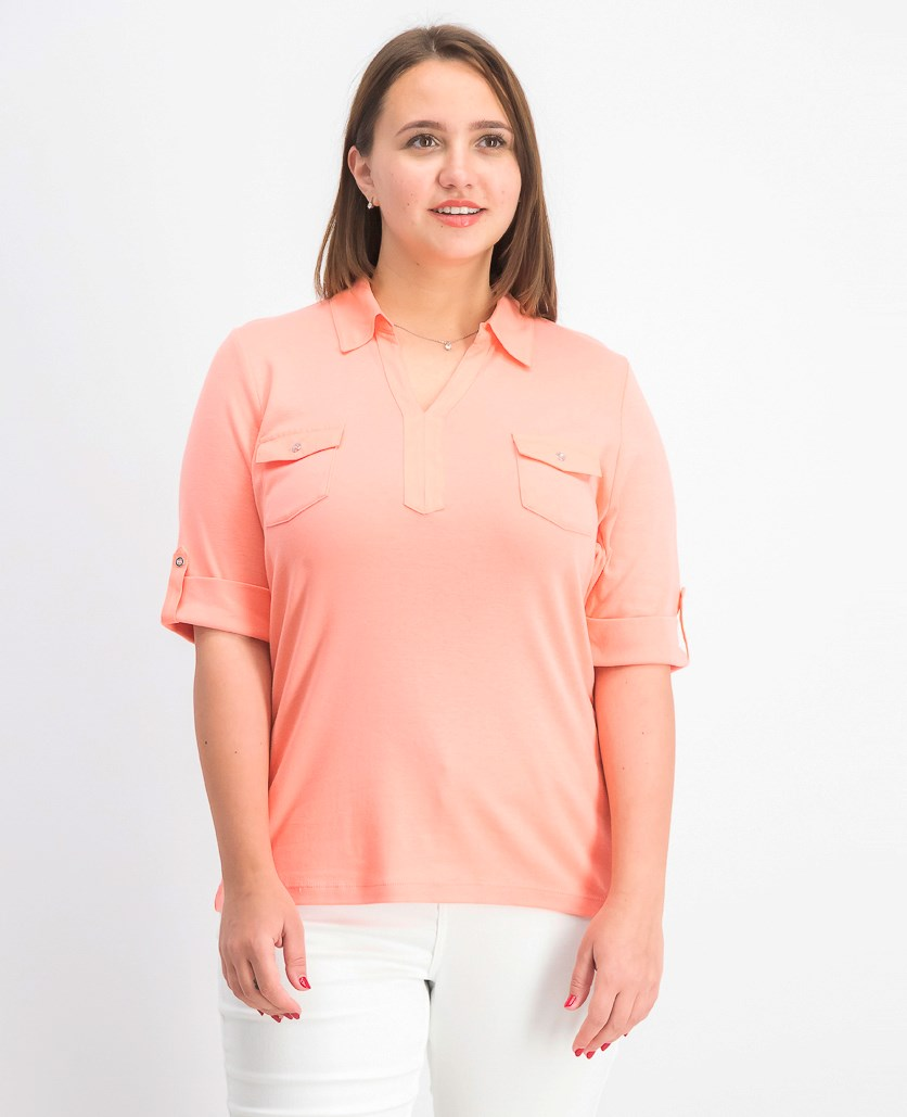 Women's Cotton Cuffed Elbow-Sleeve Top, Coral Lining