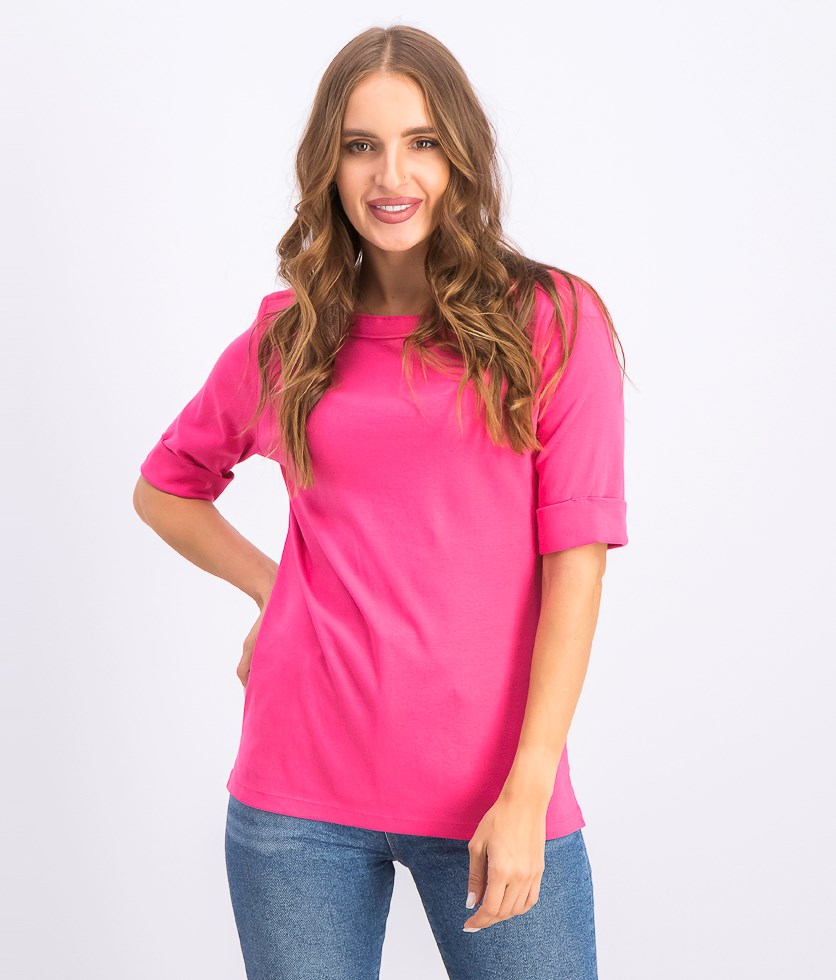 Women's Petite Elbow-Sleeve Top, Steel Rose