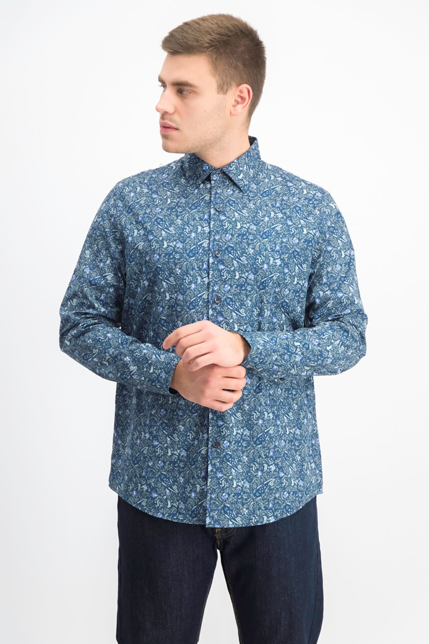 Men's Paisley Cotton Button-Down Shirt, Sage Combo