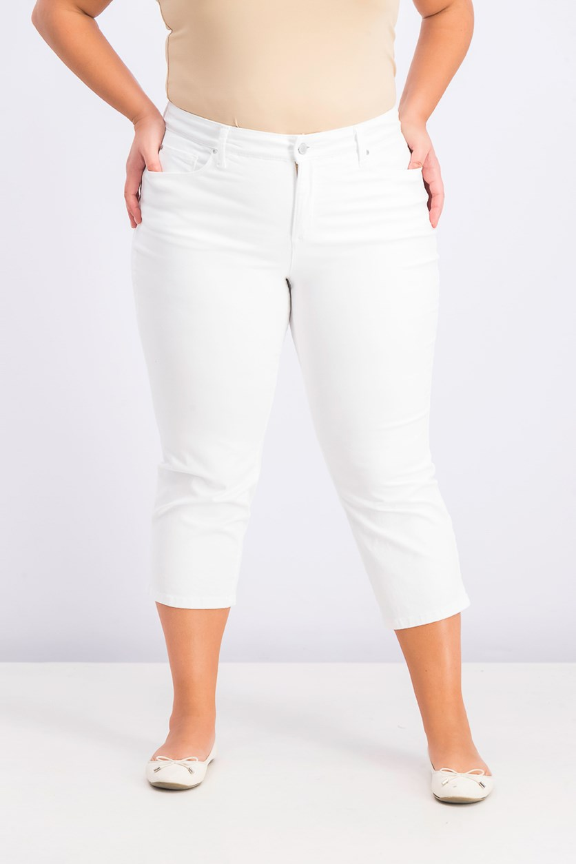 Women's Plus Size Capri Jeans, Bright White