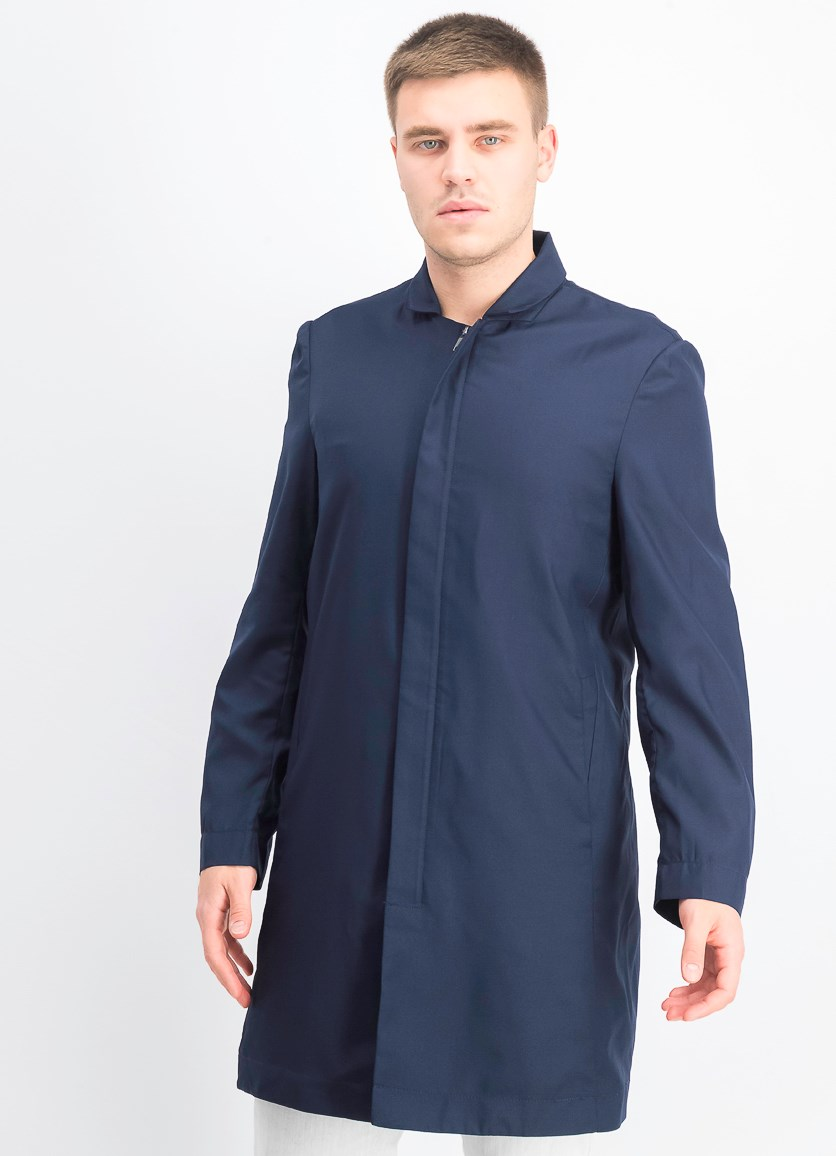 Men's 3/4-Length Solid Jacket, Navy Blue
