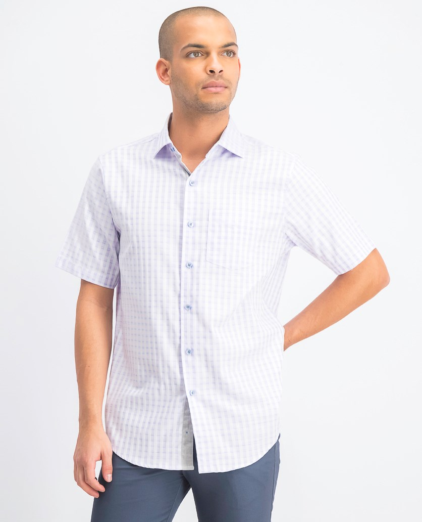 Men's Spacedyed Check Shirt, Purple Combo