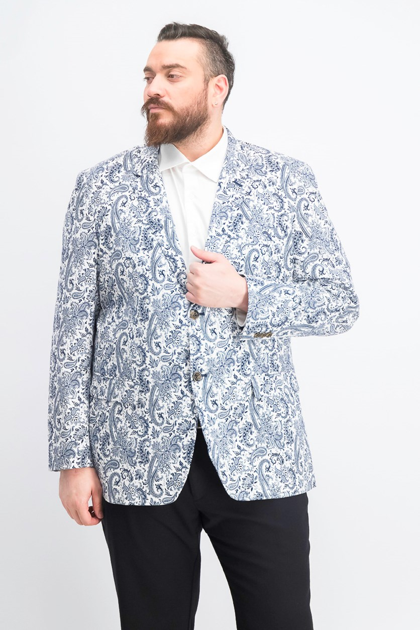 Men's Paisley-Print Seersucker Sport Coat, Navy Blue Combo
