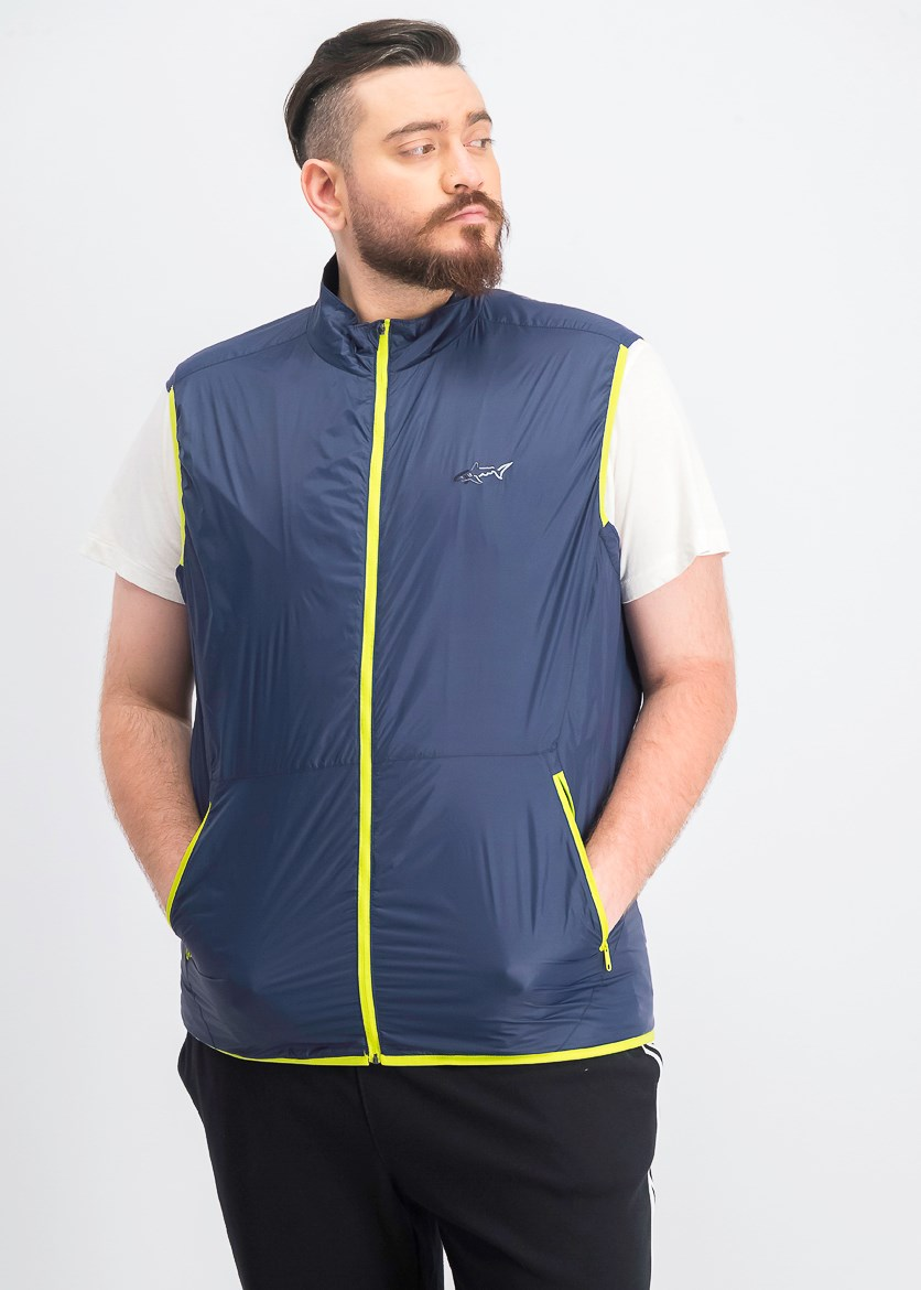 Men's Colton Zip-Front Vest, Navy/Lime