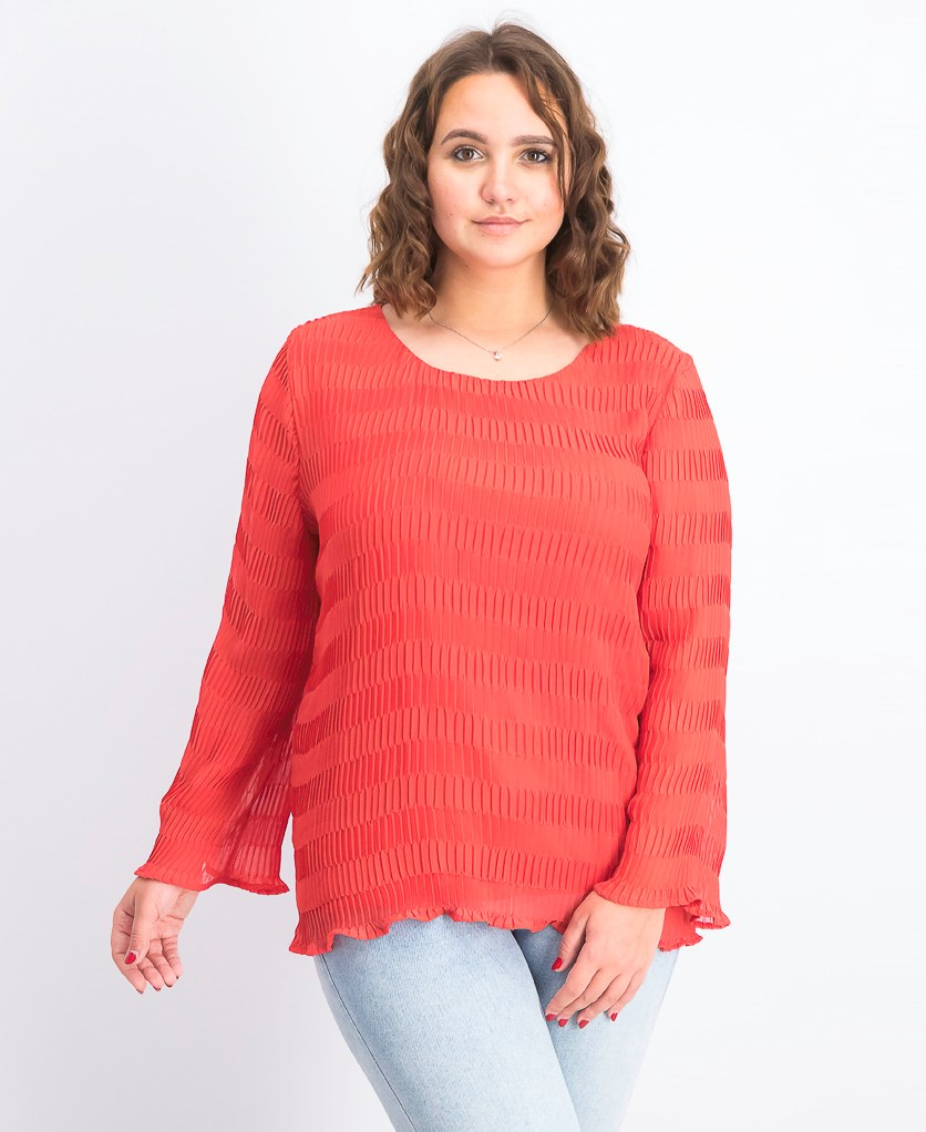 Women's Textured Pleated Top, Cranberry Spice
