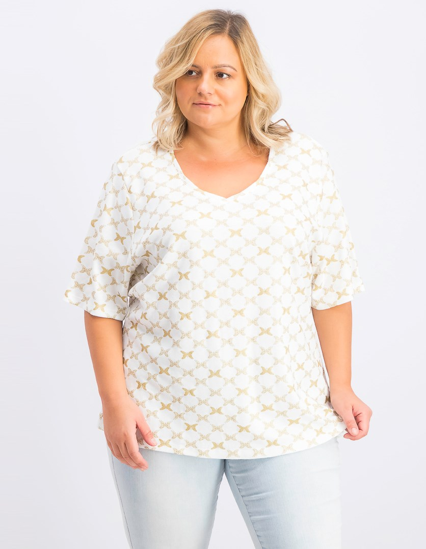 Women's Plus Size Printed T-Shirt, Bright White