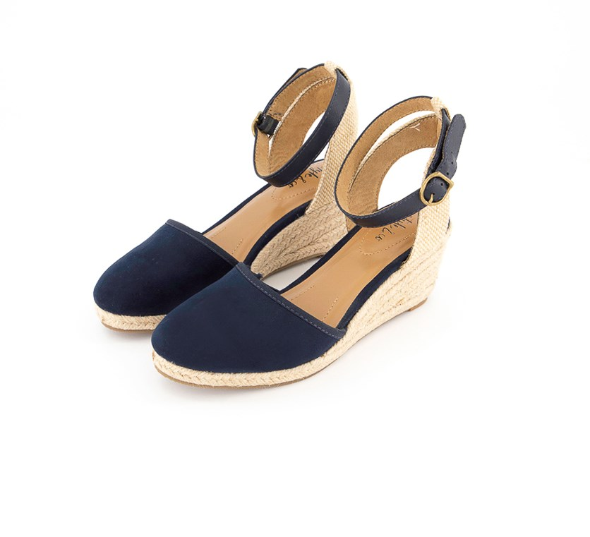 Mailena Wedge Espadrille Sandals, Navy