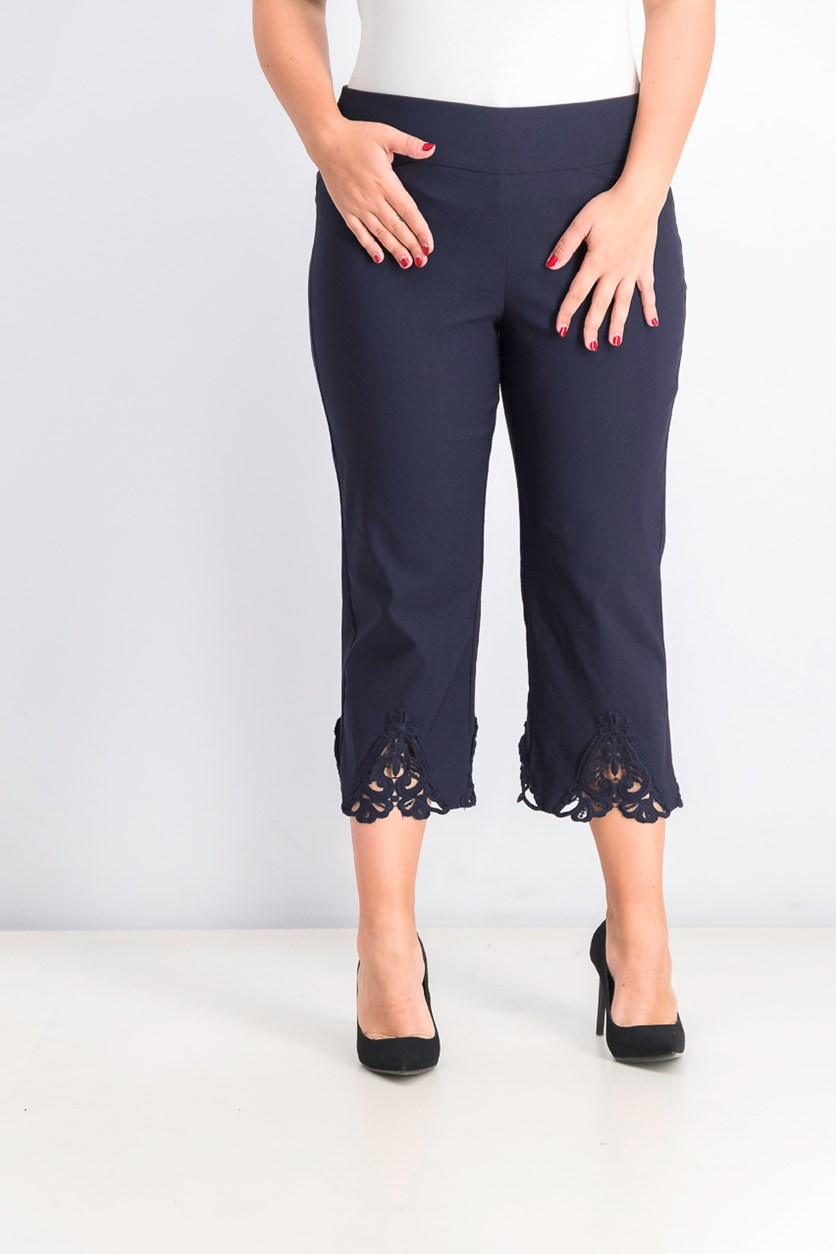 Women's Crochet Hem Wide Leg Pants, Navy Blue