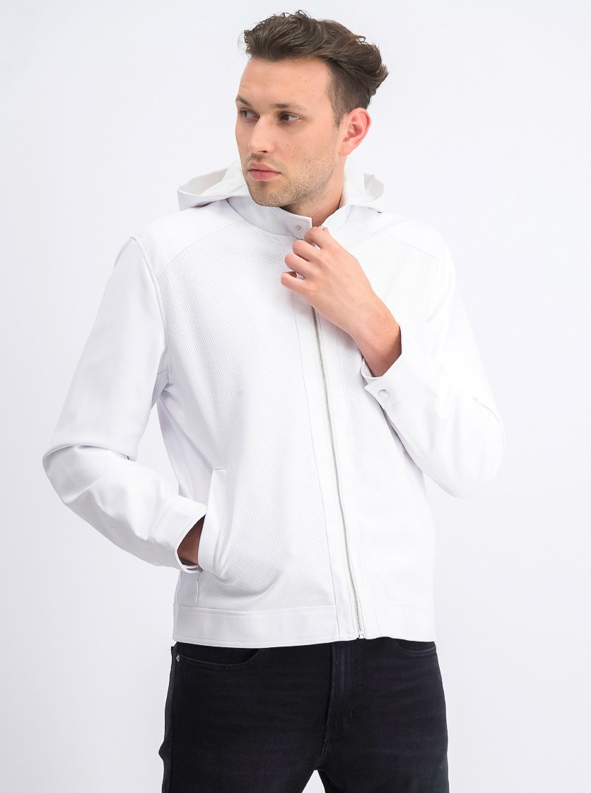 Men's Perforated Hooded Jacket, White
