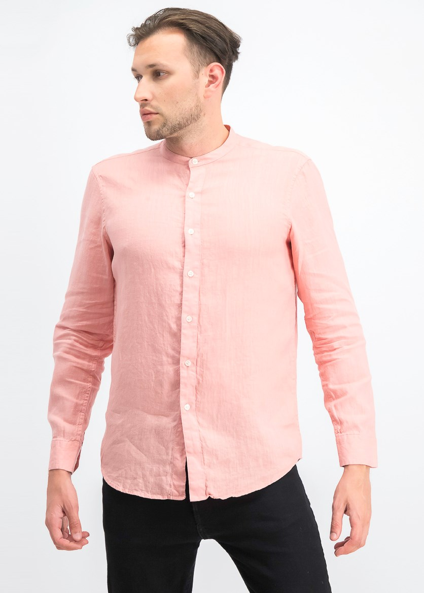 Men's Long Sleeves Banded Collar Linen Shirt, Dolores Blush