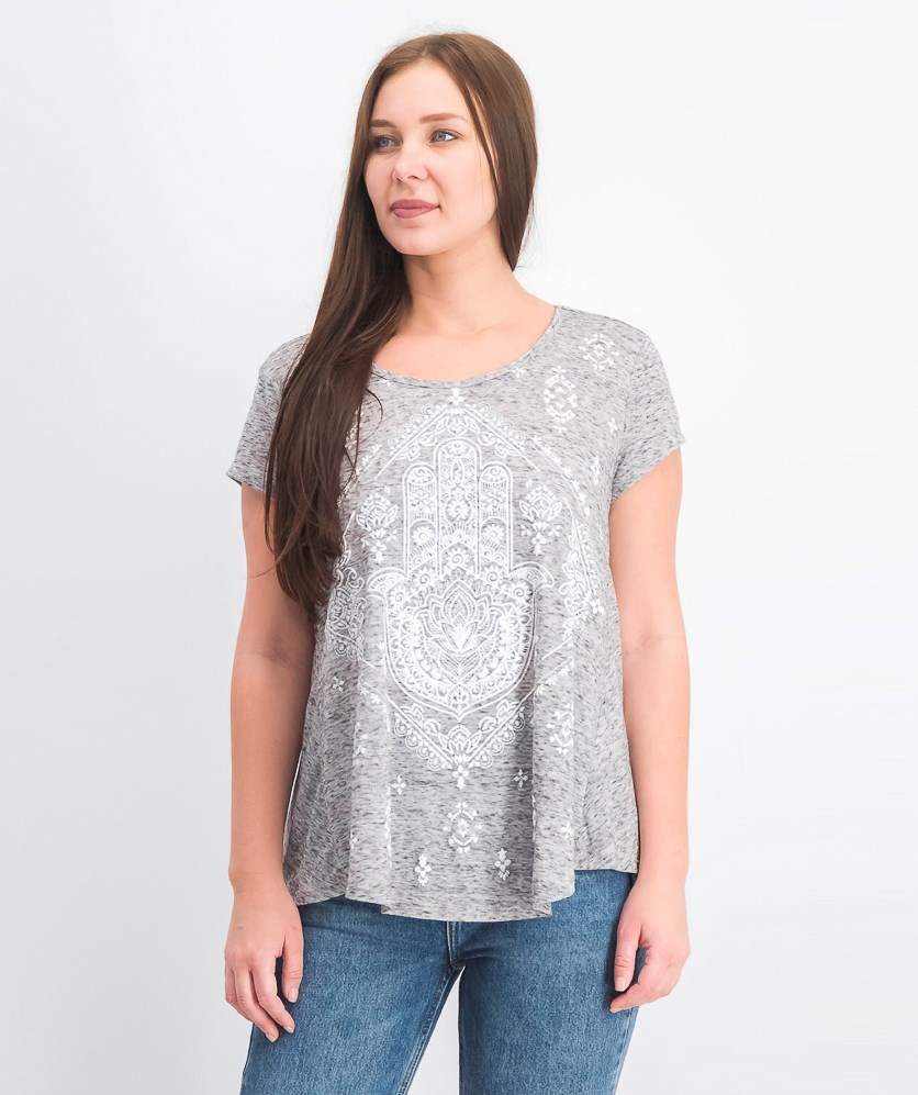 Women's Short-Sleeve Printed Scoopneck Graphic T-Shirt, Structural Hamsa