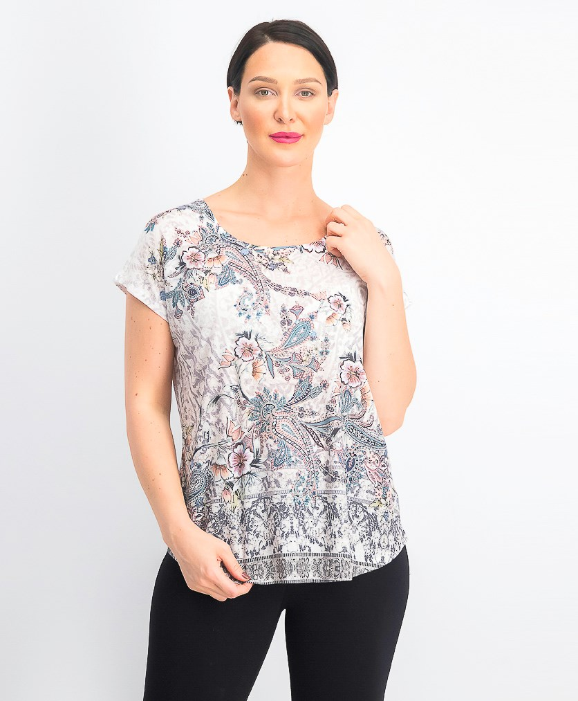 Women's Printed Dolman-Sleeve Top, Graceful Tone