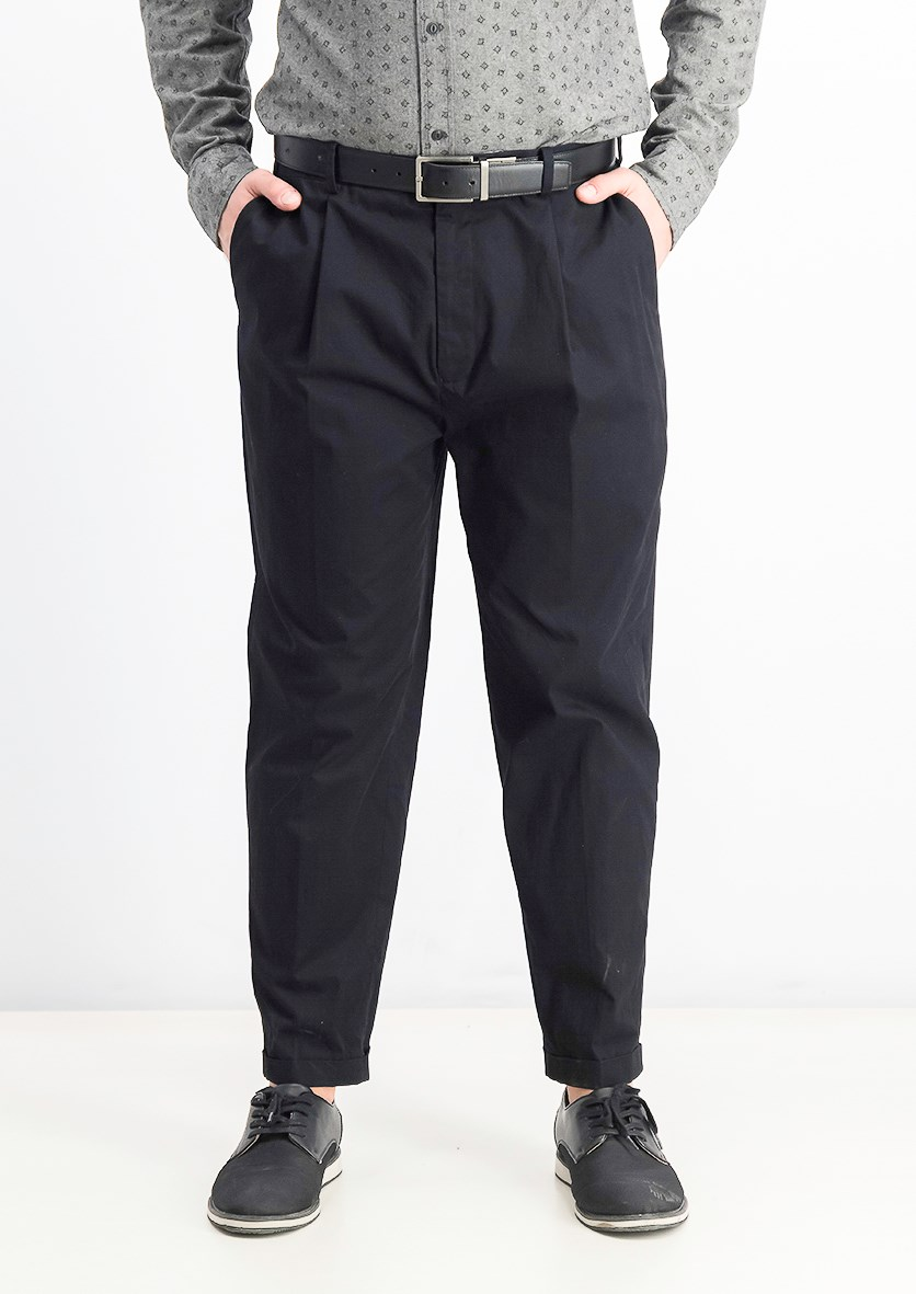 Men's Tapered Pleated Chinos, Black