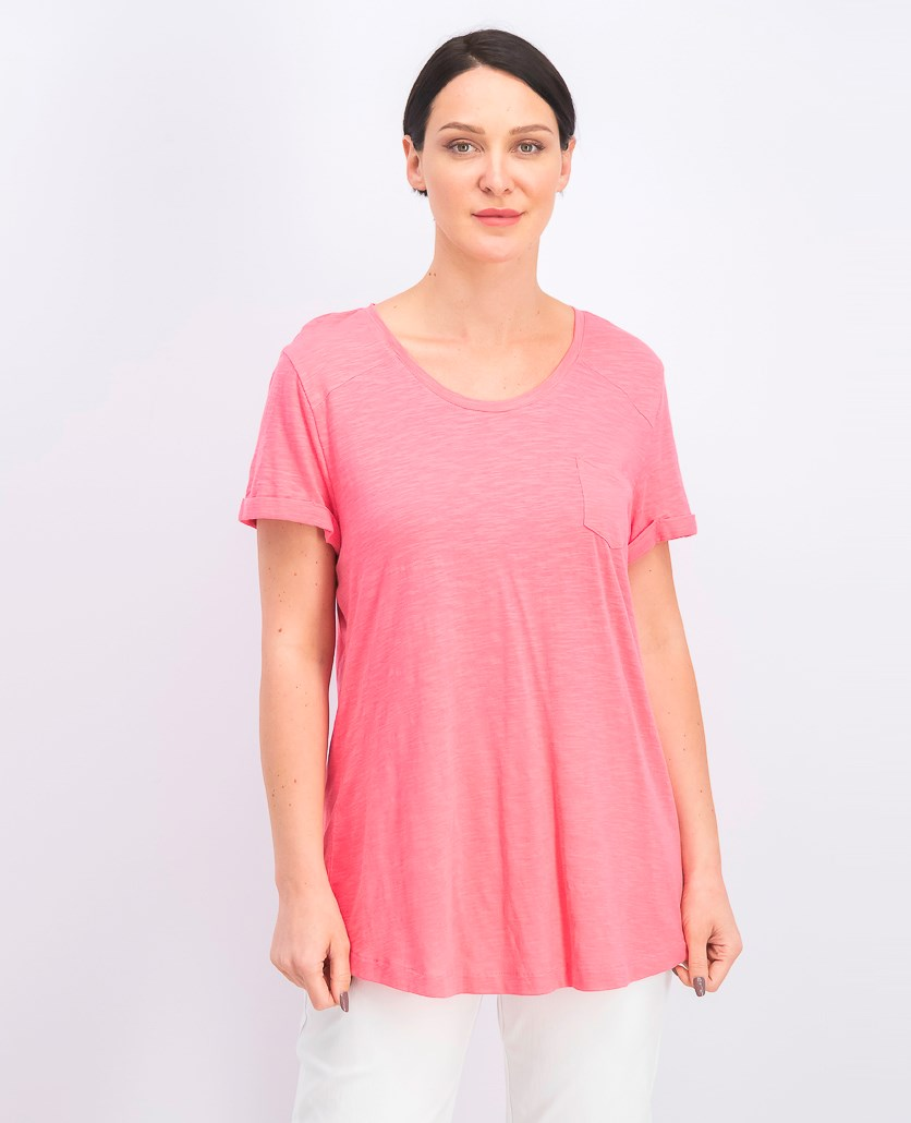 Women's Cuffed Sleeve Cotton Pocket T-Shirt, Pink Burst