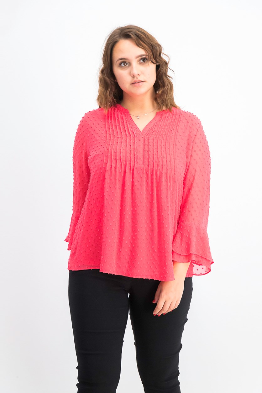 Double-Ruffle Textured Pintuck Top, Pure Red