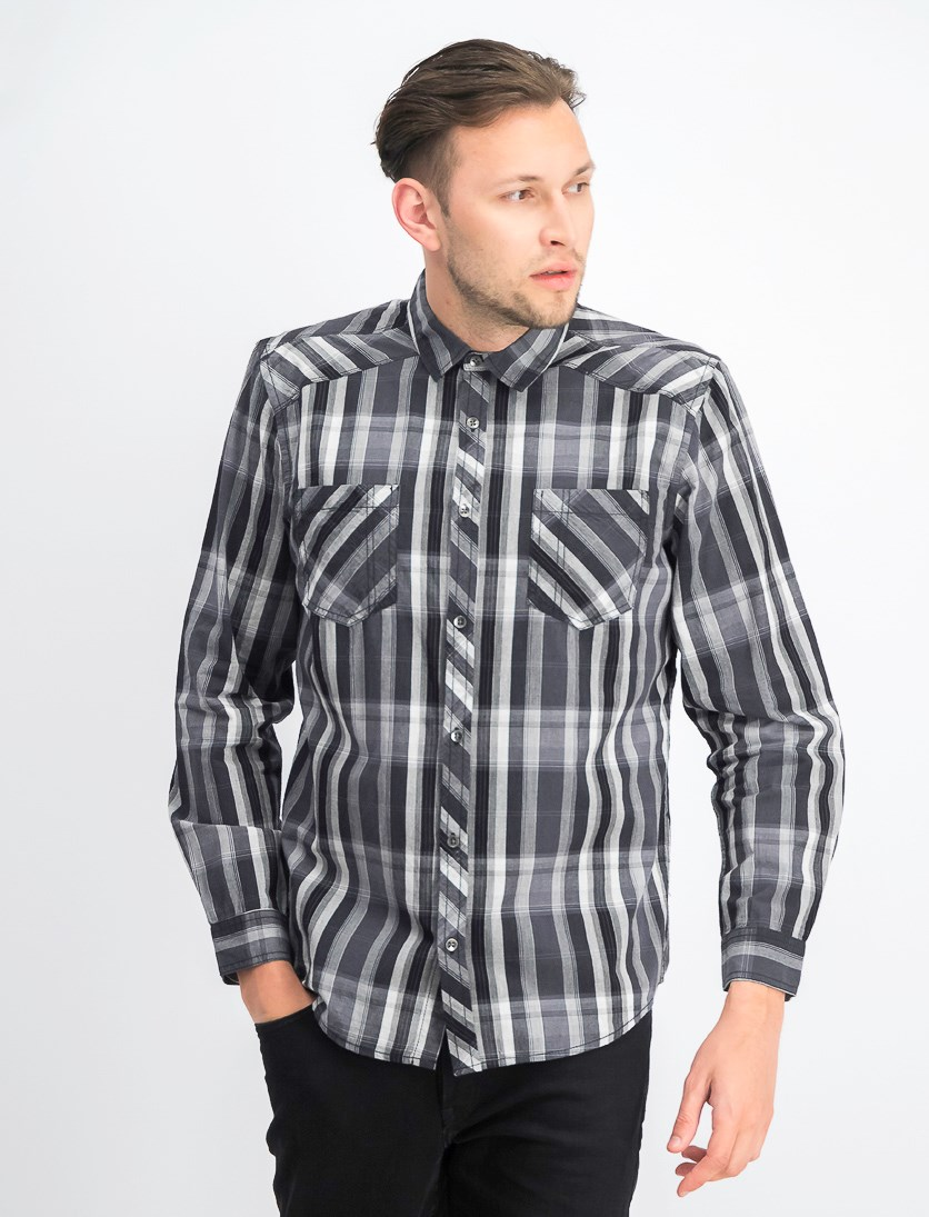 Men's Aaron Long Sleeves Plaid Shirt, Deep Black