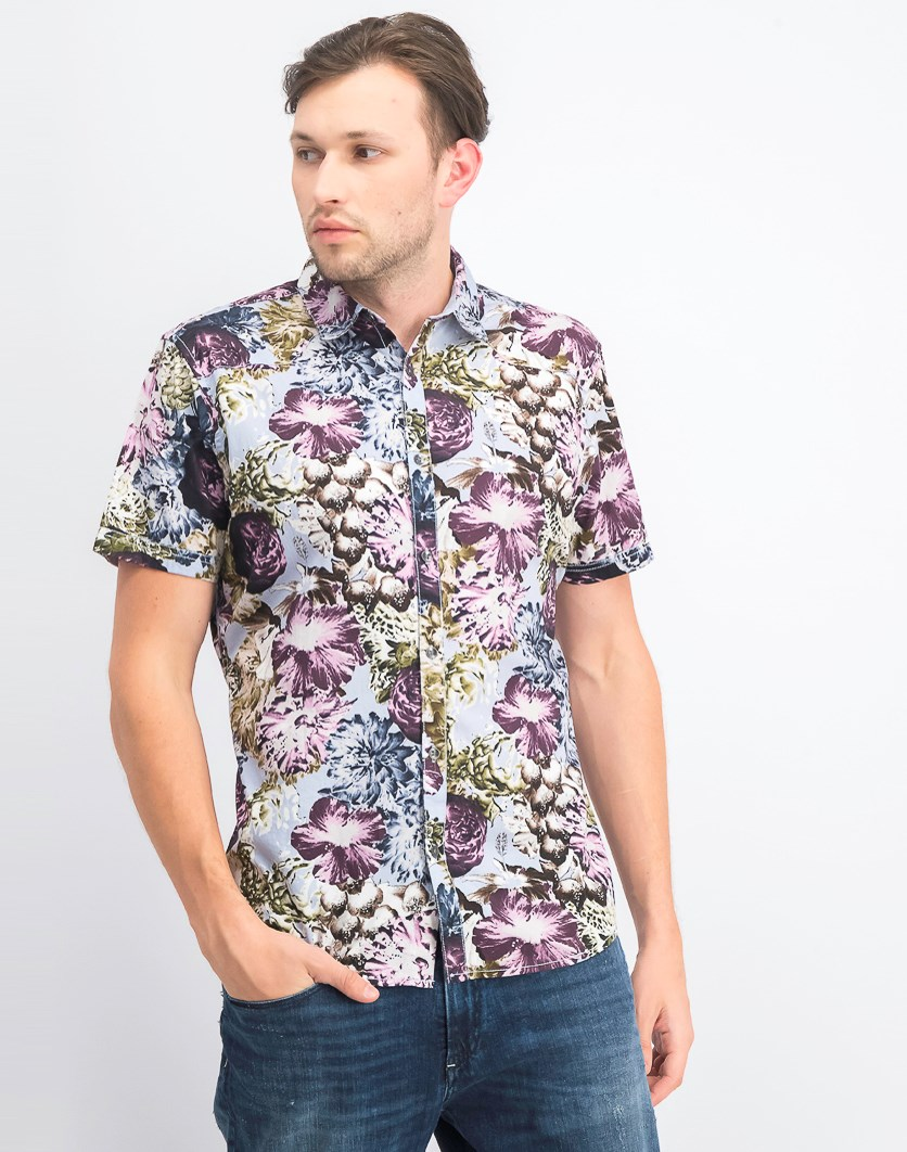 Men's Snap-Front Floral Shirt, Zen Blue