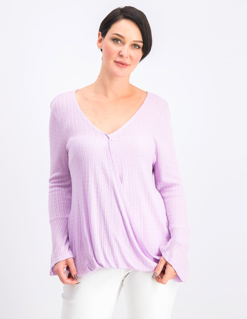 Women's V-Neck Bell-Sleeve Top, Lavender Spring