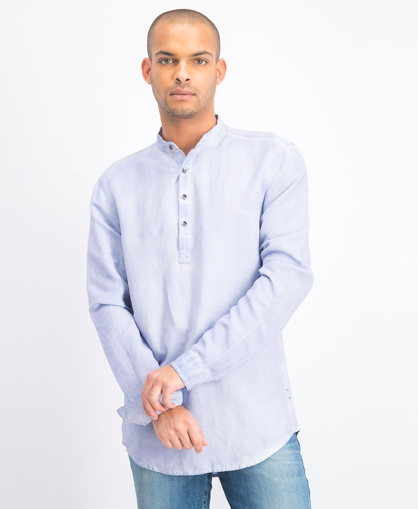 Men's Four-Button Linen Shirt, Zen Blue