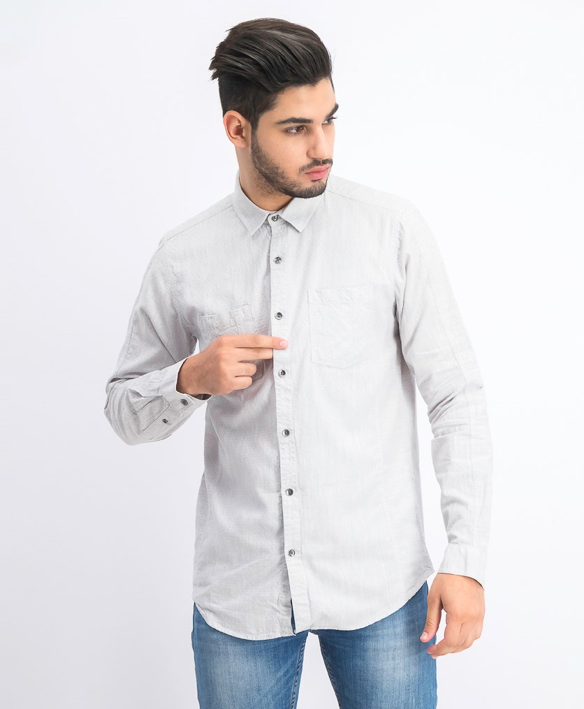 Men's Long Sleeve Textured Shirt, Stucco Grey