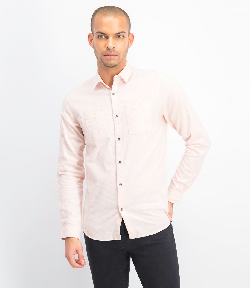 Men's Dual Pocket Chambray Shirt, Shy Blush