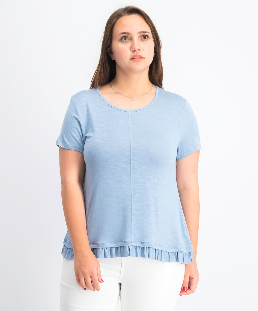 Women's Petite Ruffled-Hem Top, Blue Fog