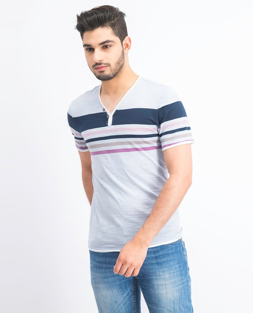 Men's Stripe Split-Neck T-Shirt, Zen Blue