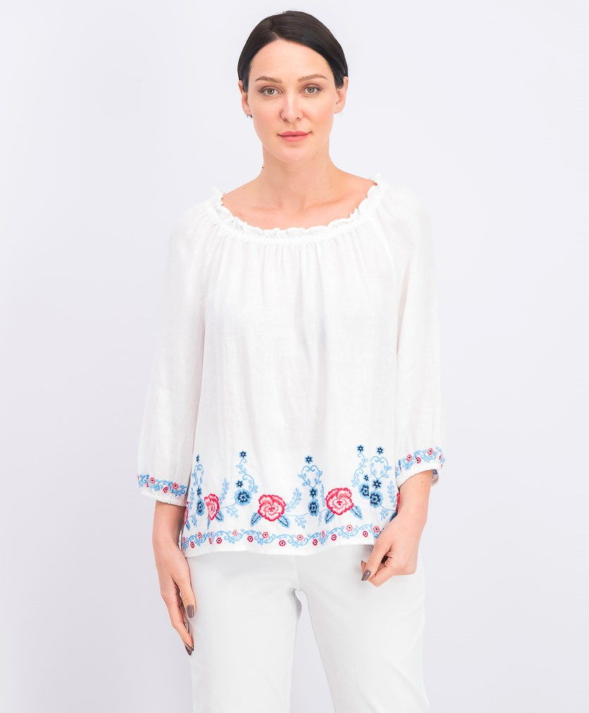 Women's Embroidered Top, Bright White