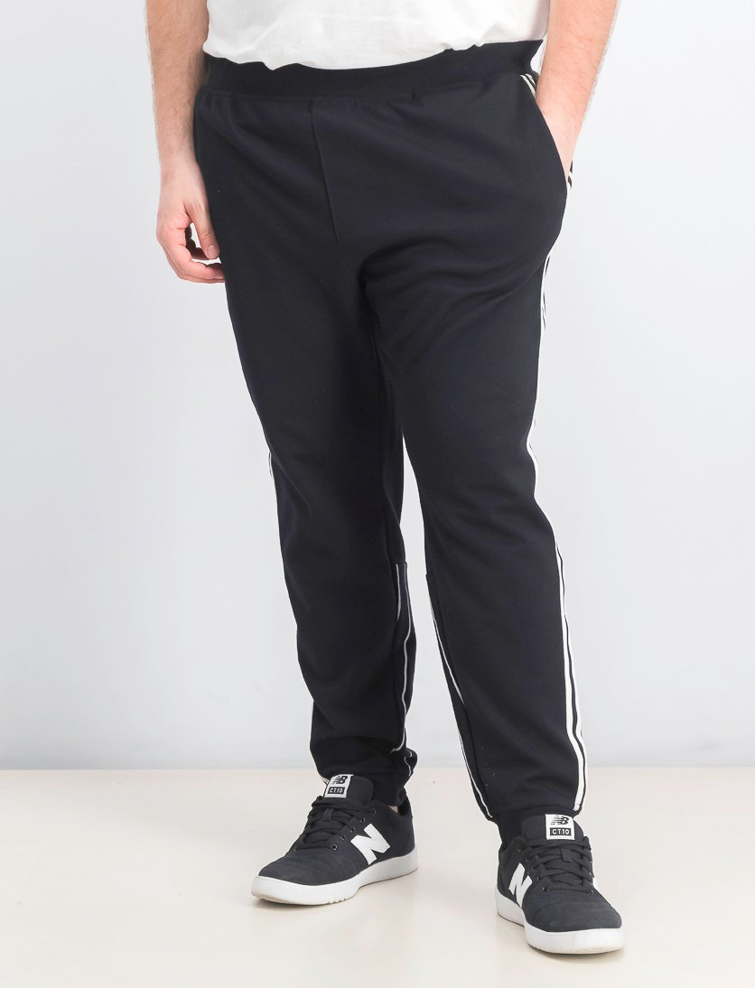 Men's Sport Stripe Joggers, Black/White